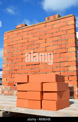 Bricklaying House Construction Site Concept. How To Lay Bricks Like A Bricklayer. - Stock Photo