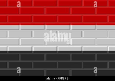 Yemen painted flag. Patriotic brick flag illustration background. National flag of Yemen - Stock Photo