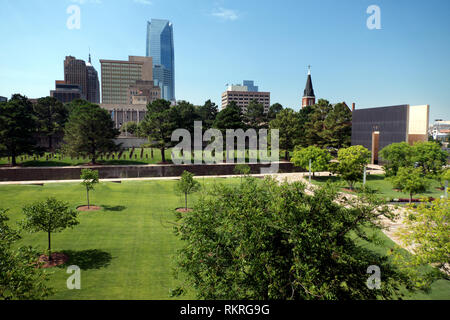 View of the Oklahoma City National Memorial in Oklahoma City, United States of America. American buildings, monument and landmark - Stock Photo