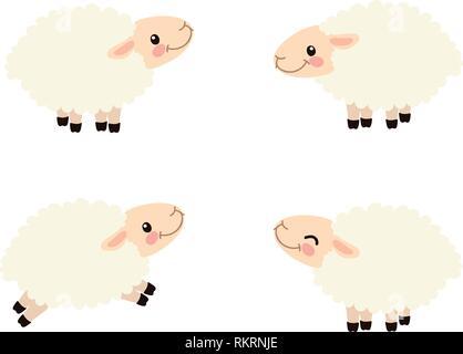 vector cartoon animal clipart happy cute sheeps - Stock Photo