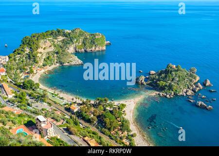 Seascape with beach and island Isola Bella (beautiful island) in Taormina. Sicily, Italy - Stock Photo