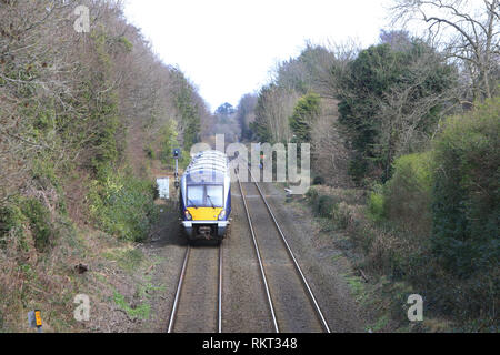 The Belfast to Bangor railway line at Cultra, County Down, Northern Ireland. The Class 4000 is a type of diesel multiple unit in service with NI Railways. Although the trains are externally similar to the C3K fleet, internally they have significant differences. Each three-car train has a seating capacity of 212,[8] with fewer table bays and extra standing room.[6] They have one toilet compared to the C3K's two.[8] They have a new traction system, with an MTU 390kW engine providing power to both the traction motors and auxiliary generators. With a train being four tonnes lighter than a C3K unit - Stock Photo