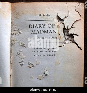 Bookworm infested copy of Nikolai Gogol's 'Diary of a Madman' - Stock Photo