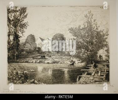 The Old Footbridge, Banks of the Petit Morin - 1915 - Louis Auguste Lepère French, 1849-1918 - Artist: Louis Auguste Lepère, Origin: France, Date: - Stock Photo