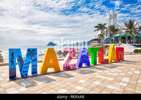 Mazatlan, Mexico-10 December, 2018: Big Mazatlan Letters at the entrance to Golden Zone (Zona Dorada), a famous touristic beach and resort zone in Mex - Stock Photo