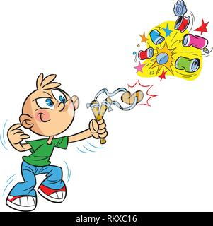 The illustration shows cartoon boy bully, who shoots a slingshot in empty cans. Illustration done on separate layers. - Stock Photo