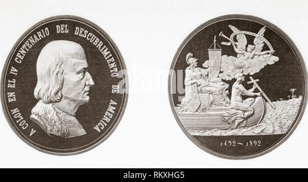 Commemorative medal celebrating the 400 year anniversary of Columbus's discovery of America in 1492.  From La Ilustracion Espanola y Americana, published 1892. - Stock Photo
