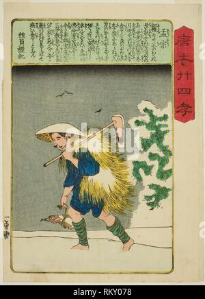 Meng Zong (Mo So), from the series ''Twenty-four Paragons of Filial Piety in China (Morokoshi nijushiko)'' - c. 1848/50 - Utagawa Kuniyoshi Japanese, - Stock Photo