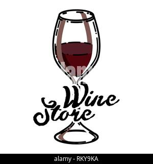 Color vintage wine store emblem. Template isolated icon design. Vector illustration, EPS 10 - Stock Photo