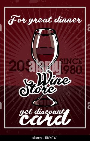 Color vintage wine store banner. Template isolated icon design. Vector illustration, EPS 10 - Stock Photo