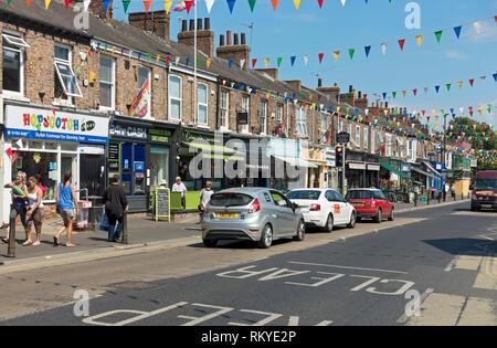 Shops on Bishopthorpe Road in York. - Stock Photo