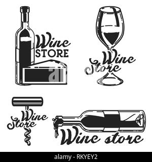 Vintage wine store emblems. Template isolated icon design. Vector illustration, EPS 10 - Stock Photo