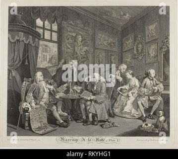 Plate One, from Marriage à la Mode - 1745 - Gérard Scotin II (French, 1698-1755) after WIlliam Hogarth (English, 1697-1764) - Artist: Gérard Scotin, - Stock Photo