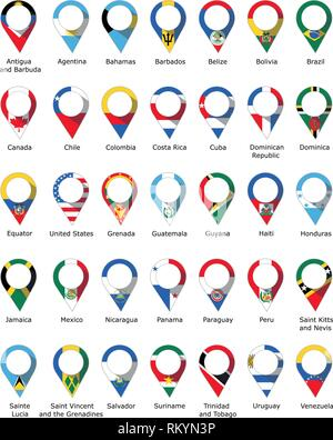 Flags in the form of a pin from the countries of America with their names written below - Stock Photo