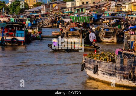 Cai Rang Wholesale Floating Market, near Can Tho, Mekong Delta, Vietnam. - Stock Photo
