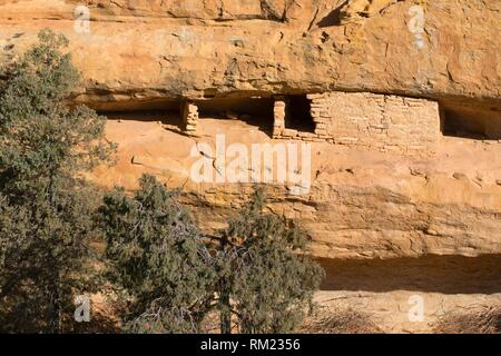 Cliff ruin near Spruce Tree House, Mesa Verde National Park, Colorado. - Stock Photo