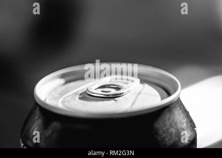 Close-up view of the top of a can drink with condensation. - Stock Photo