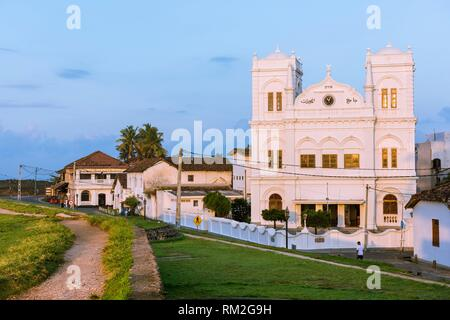 Meeran Jumma Mosque in Galle Fort at Sunrise, Old Town of Galle and its Fortifications, Southern Province, Sri Lanka, Asia. - Stock Photo