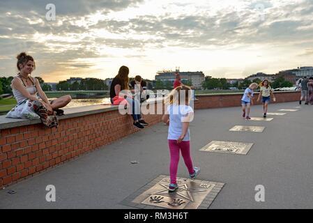 Krakow Walk of Fame on the sidewalk along the Vistula river at the foot of the Wawel Castle, Malopolska Province (Lesser Poland), Poland, Central - Stock Photo