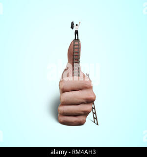 Cheering on top of thumb with wooden ladder - Stock Photo