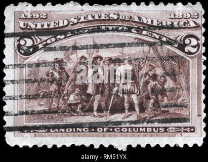 USA - CIRCA 1893: A Stamp printed in USA shows the Landing of Columbus, circa 1893 - Stock Photo