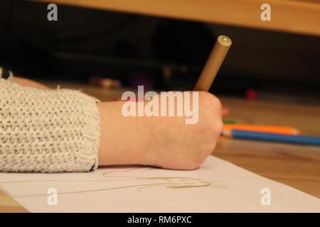 Child Hand Drawing - Stock Photo