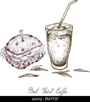 But Frist Coffee, Illustration Hand Drawn Sketch of Delicious Pork Burgery with Lettuce, Tomato, Onions and Cheese on Wheat Buns and Iced Coffee or Ic - Stock Photo