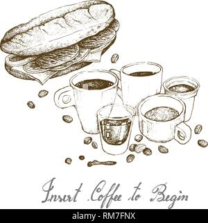 Insert Coffee to Begin, Illustration Hand Drawn Sketch of A Cup and Coffee Glass Pot with Homemade Freshly Baguette Sandwich Isolated on White Backgro - Stock Photo
