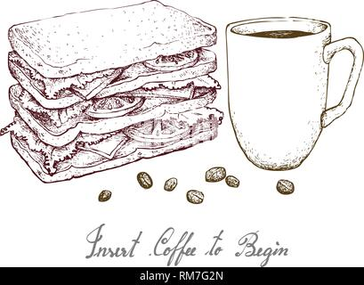 Insert Coffee to Begin, Illustration Hand Drawn Sketch of A Cup of Coffee with Grilled Sandwich Isolated on White Background. - Stock Photo
