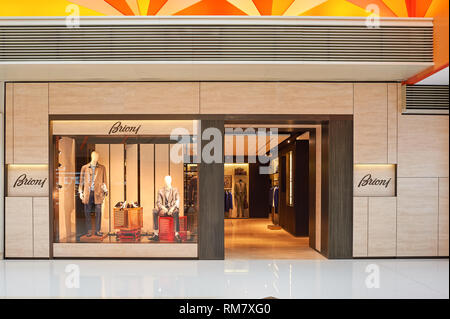 HONG KONG - JANUARY 26, 2016: Brioni store at the Elements shopping mall. Brioni is an Italian menswear couture house owned by French holding company  - Stock Photo