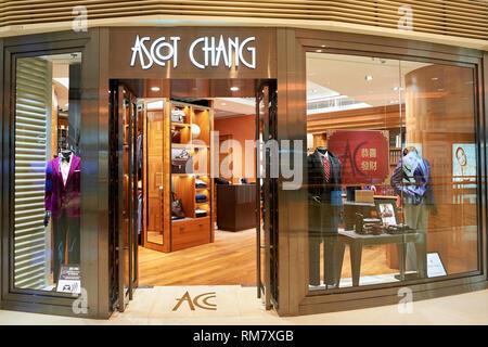 HONG KONG - JANUARY 26, 2016: Ascot Chang store at the Elements shopping mall. Ascot Chang is a brand of bespoke tailored shirts. - Stock Photo
