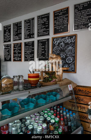 Trendy interior of an English Cafe - Stock Photo