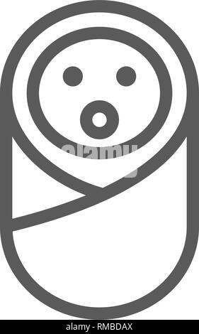 Baby in diapers with nipple line icon. - Stock Photo
