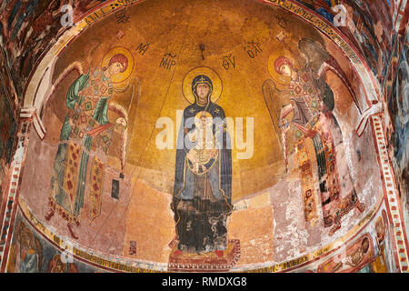 Pictures & images of the Byzantine mosaic of Theotokos, depicting the Virgin Mary, the  Mother of God, and child, 1126-1130, in the apse of the Gelati - Stock Photo
