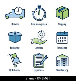 Shipping and Receiving Icon Set w Boxes, Warehouse, checklist, etc - Stock Photo
