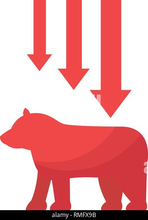 bear downtrend stock market symbol - Stock Photo