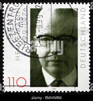 GERMANY - CIRCA 1999: a stamp printed in the Germany shows Gustav Heinemann, President of the Federal Republic of Germany from 1969 to 1974, circa 199 - Stock Photo