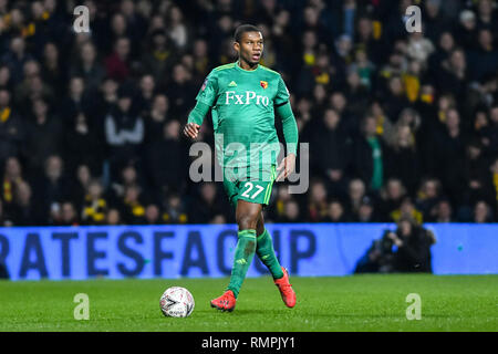 London, UK. 15th Feb, 2019. Christian Kabasele of Watford during the The FA Cup 5th Round match between Queens Park Rangers and Watford at the Loftus Road Stadium, London, England on 15 February 2019. Photo by Adamo Di Loreto. Editorial use only, license required for commercial use. No use in betting, games or a single club/league/player publications. Credit: UK Sports Pics Ltd/Alamy Live News - Stock Photo