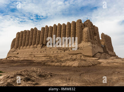 Major Kyz-Kala, a fortress with corrugated, as if pleated, walls, located in ancient Merv which was one of the major cities standing on a silkway rout - Stock Photo