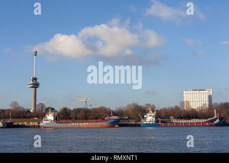 An ocean going freighter with the Euromast Tower in the background, viewed from a tourist boat on the Nieuwe Maas River in the port of Rotterdam - Ima - Stock Photo