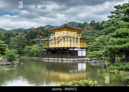 The Golden Pavilion, located in Kyoto, Japan. The temple is traditionally known as Kinkaku-ji, or Rokuon-ji - Stock Photo