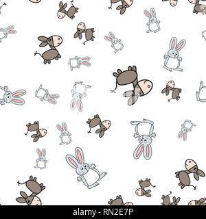 Seamless pattern of bunnies and donkeys in cartoon style. On white background, vector illustration. - Stock Photo