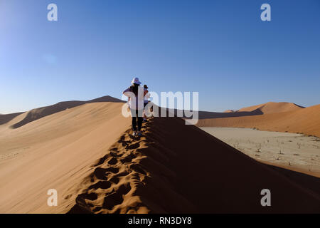 Tourists climbing Big Daddy dune next to Dead Vlei in Sossusvlei, Namibia - Stock Photo