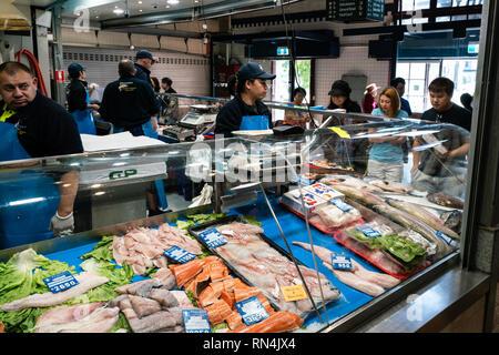 3rd January 2019, Melbourne Victoria Australia : Fish shop and fishmonger inside Queen Victoria market in Melbourne Victoria Australia - Stock Photo