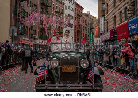 New York City, USA. 16th Feb 2019. Thousands of people gathered in NYC's Chinatown to welcome the Year of the Pig. Credit: Corine Sciboz/Alamy Live News - Stock Photo