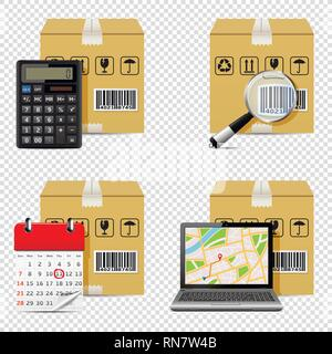 Delivery icons isolated on transparent background - Stock Photo