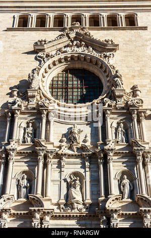 Girona, Spain - Dec 2018: Sculptures of the main facade of Girona Cathedral. The facade work was completed in 1961 - Stock Photo