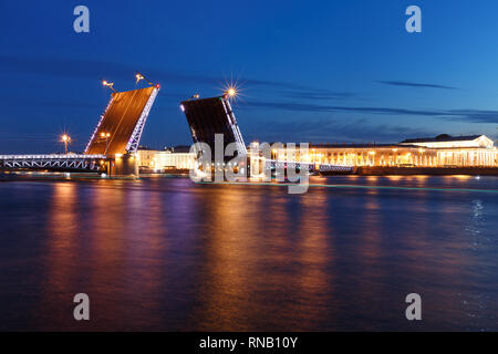 White nights. View of Neva river and raised Palace Bridge in St.Petersburg, Russia - Stock Photo