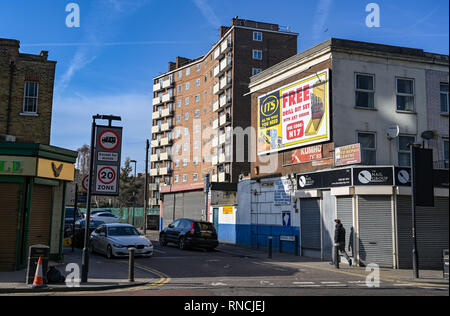 Tottenham London UK  - Shops and flats just off Tottenham High Road - Stock Photo