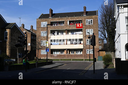 Tottenham London UK - Block of flats with washing hanging out on balconies to dry  Photograph taken by Simon Dack - Stock Photo